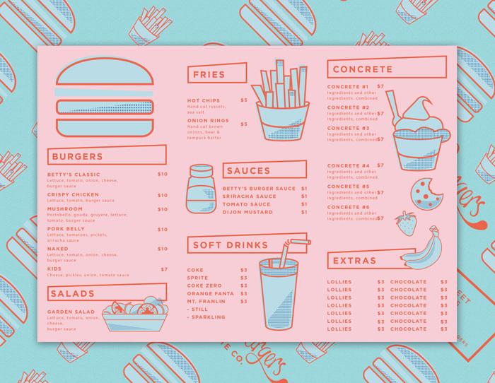 Betty's Burger Menu by Folke Army  (image via The Loop)