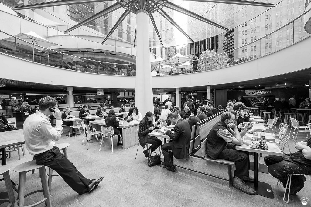 People enjoying the MLC Centre Food Court, Martin Place, Sydney  image via I'm Still Hungry
