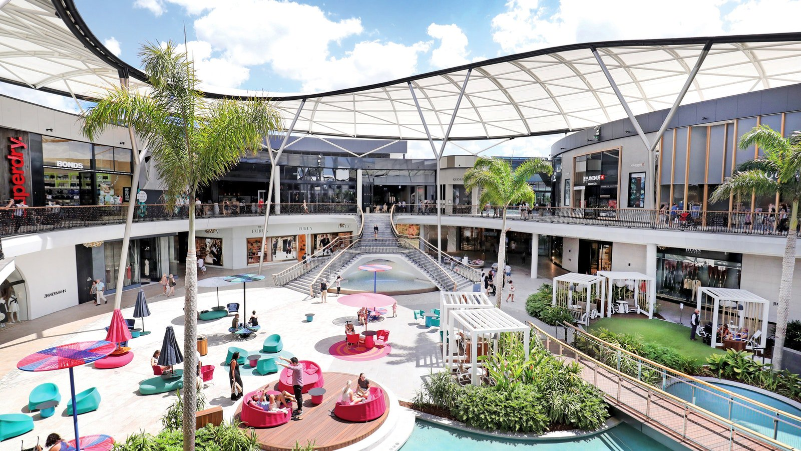 The public space at Pacific Fair, Queensland  image via Destination Gold Coast