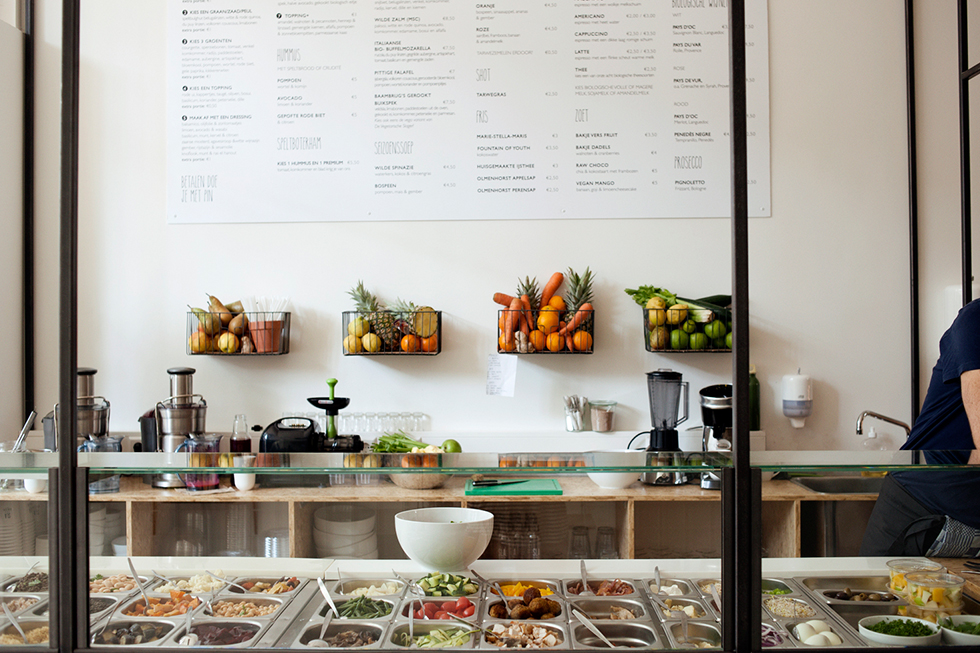 Salad bar franchise, SLA Amsterdam exposes all their kitchen processes and ingredients to the customer  image via Heidi Mortlock