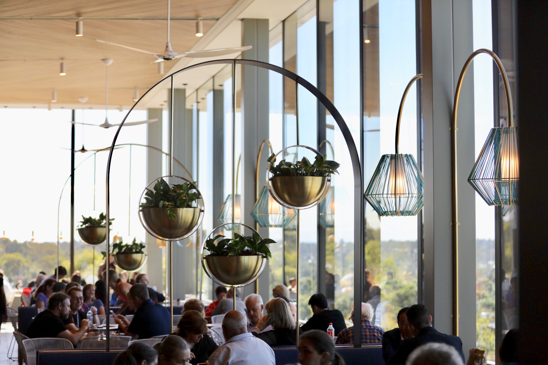 Melbourne's The Glen has unveiled its brand new dining precinct,Gallery featuring modern details throughout  image via centre owners, Vicinity