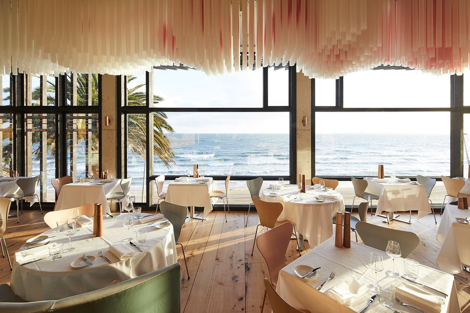 """Arne Jacobsen """"Series 7"""" pastel chairs at The Stokehouse, Melbourne  image via Delicious"""