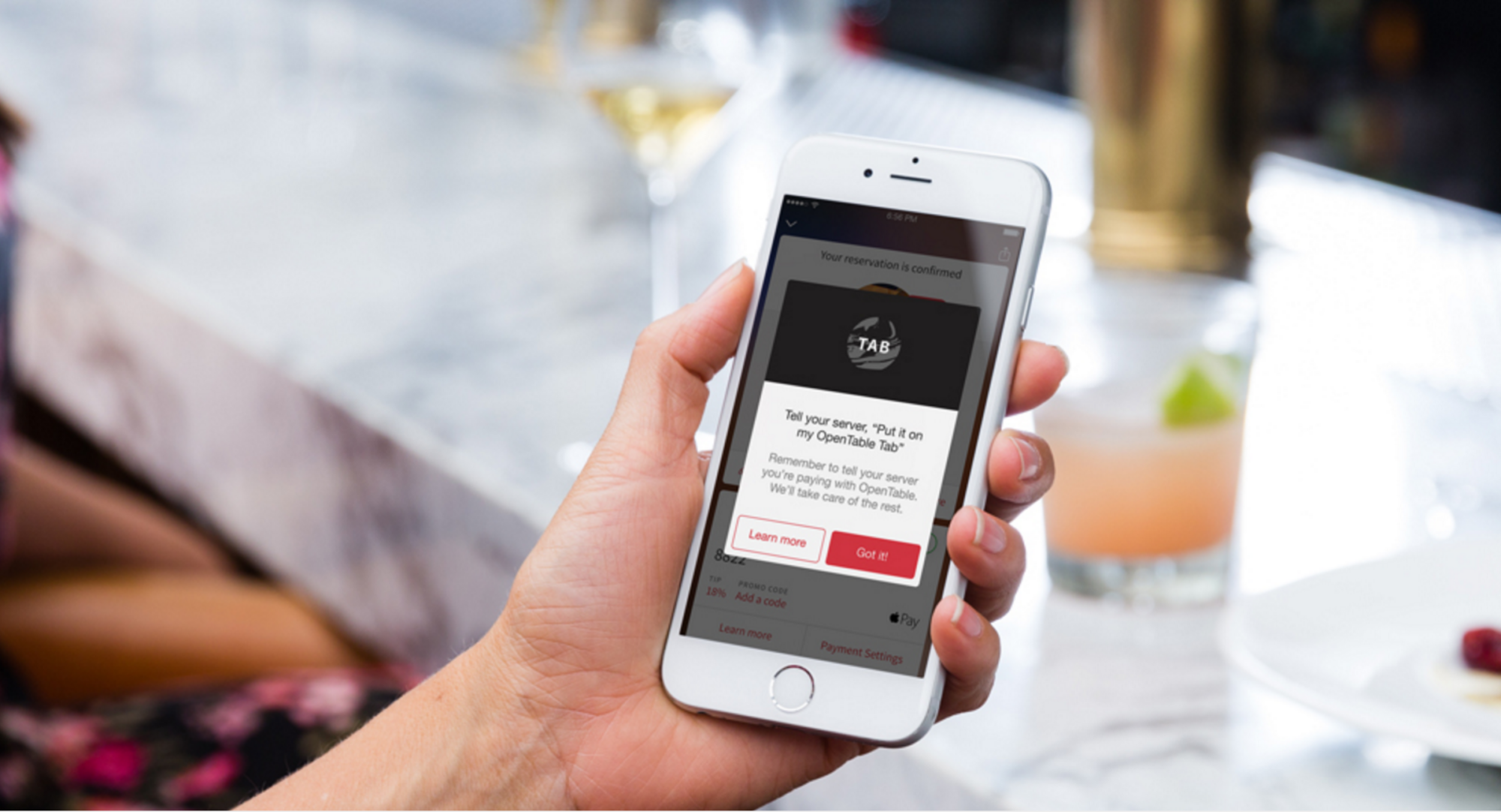 Restaurant reservation software, OpenTable allows users to add their bill to their tab on their personal profile to pay when they like and remove the need for physical transactions  image via OpenTable