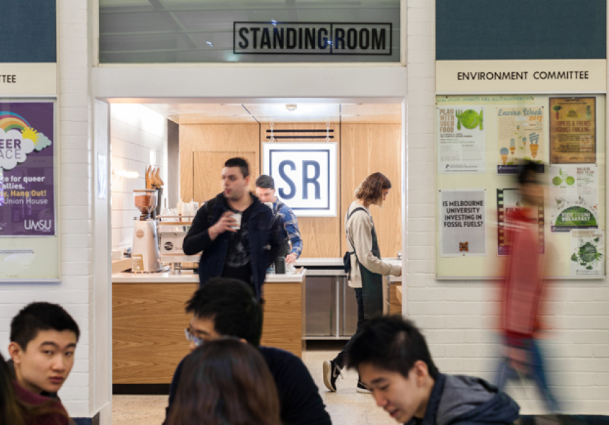 Popular Melbourne coffee concept, Standing Room at Melbourne University  image via Broadsheet
