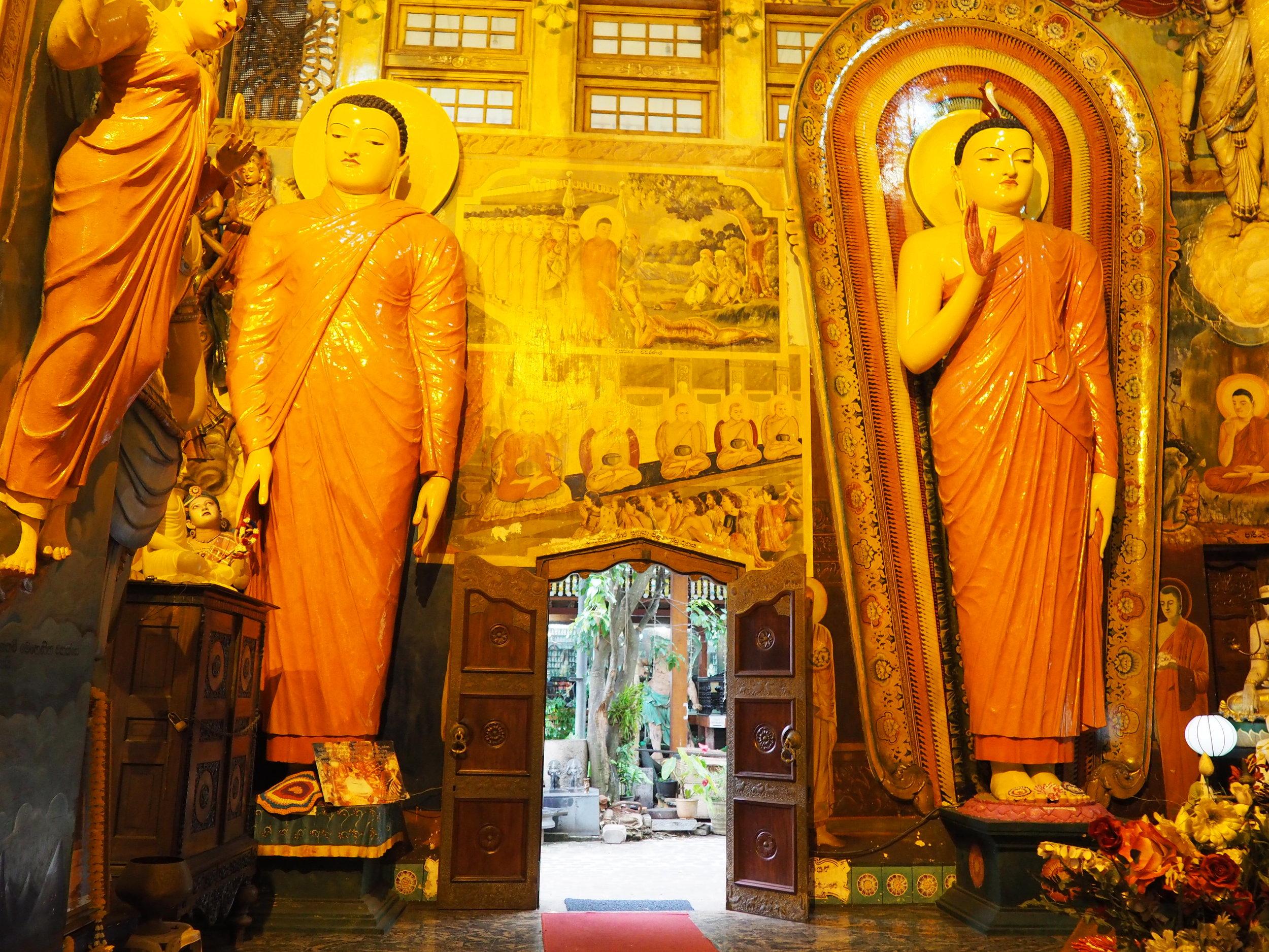 Gandaramaya temple door and standing buddha.JPG