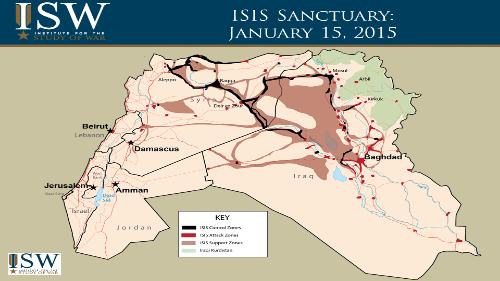 Territory held by ISIS as of Jan 15