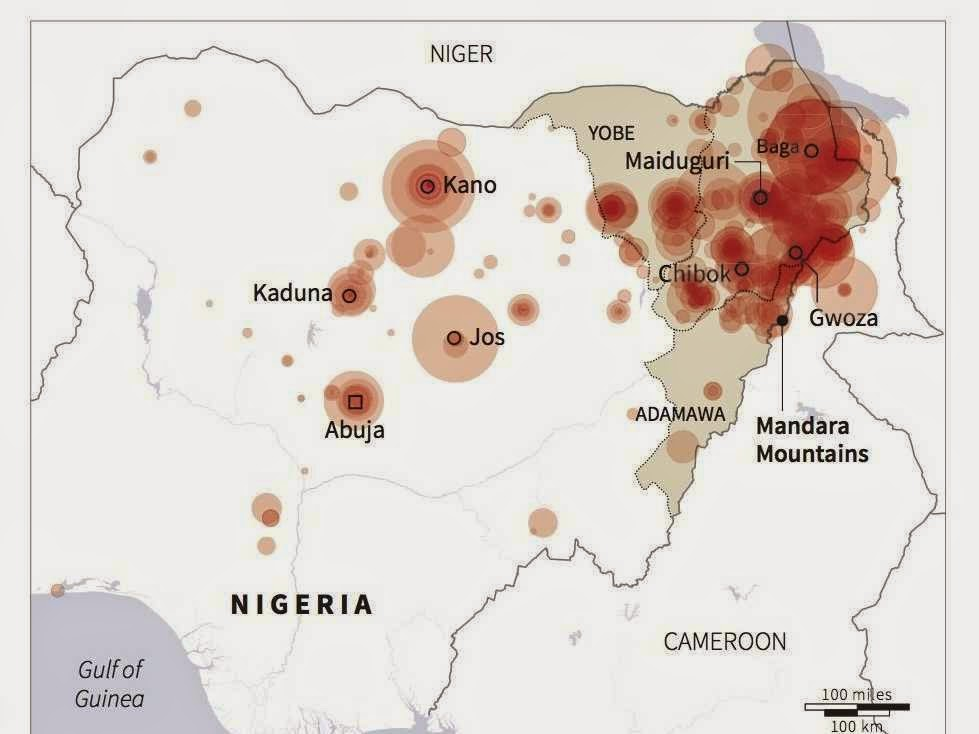 A map of the places hardest hit by Boko Haram attacks