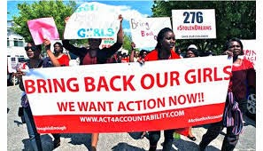 Nigerians protesting the slow response to the kidnapping of 276 schoolgirls