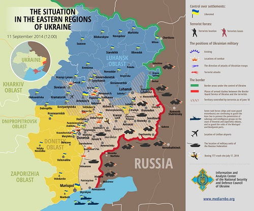 Map of the ongoing war in Ukraine against Russia.