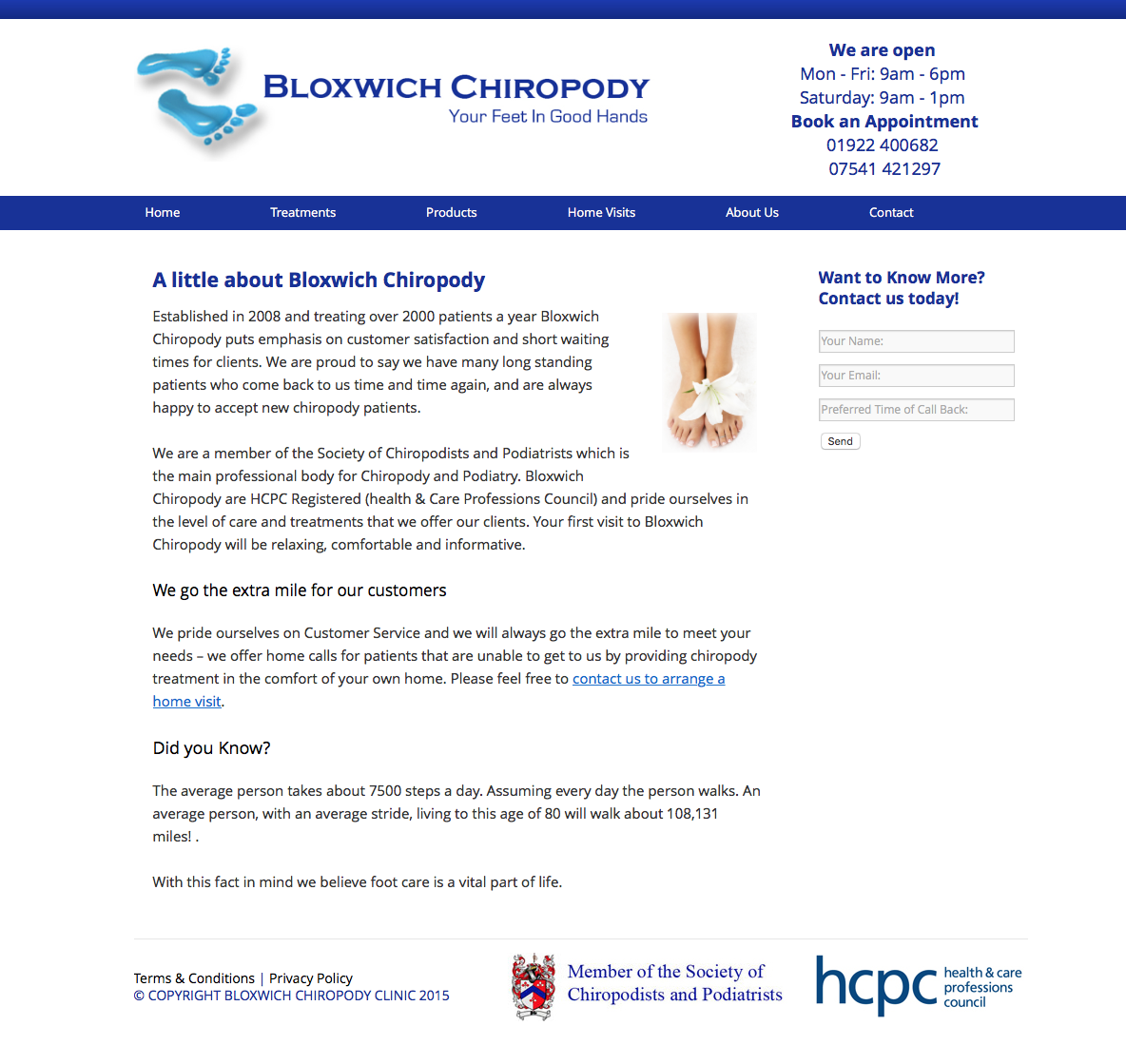 Web design for a Chiropody Clinic