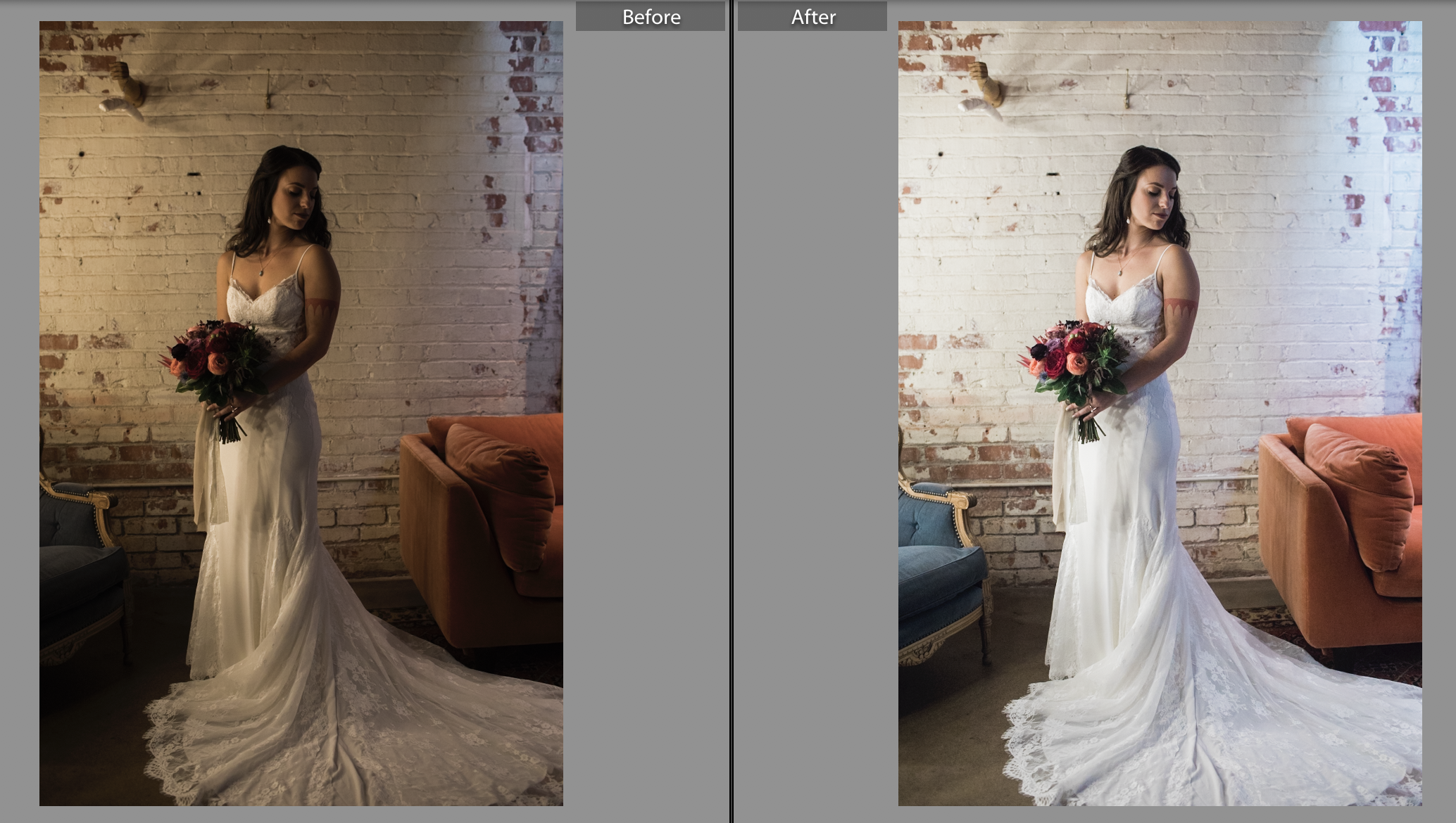 RAW, unedited file on the left versus the edited version on the right. I think it's obvious why I would never deliver the RAW file here.