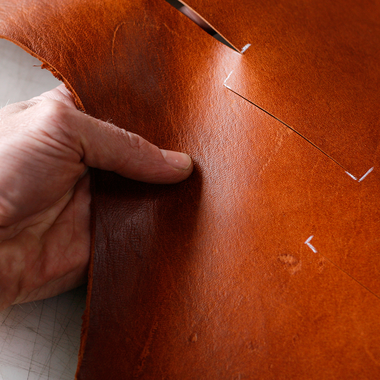 Cutting wallet panels for a Chestnut Classic Wallet.