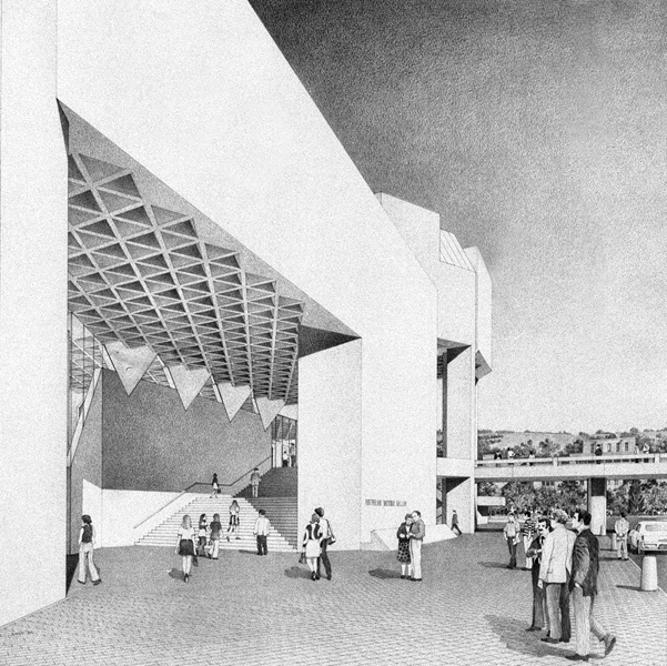 Artist's impression of the Gallery's main entrance from the pedestrian concourse, Australian National Gallery, Canberra: NCDC, 1974