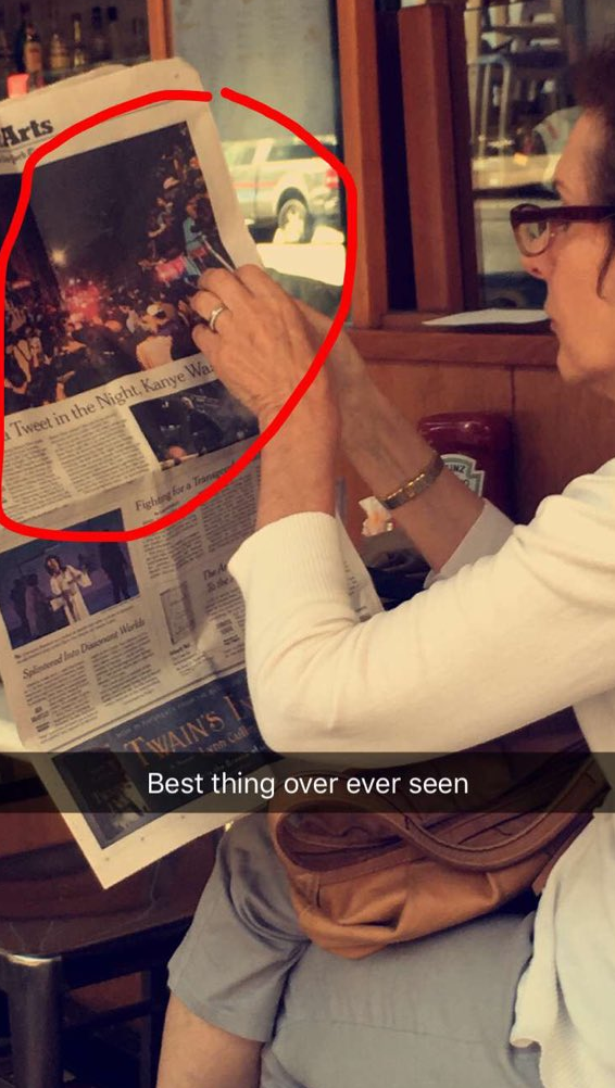 Highlight of my life, to see this at breakfast the next day. Sweet lady just reading about the greatest night of our lives in the newspaper.
