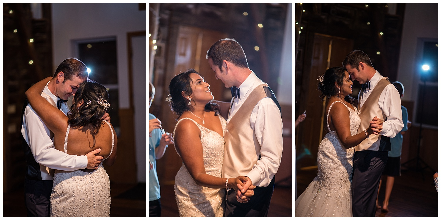 wisconsin bride and groom, open back lace wedding dress, diamond earrings, first dance, badger farms, badger farms wedding, summer wedding, just married, wisconsin wedding photography