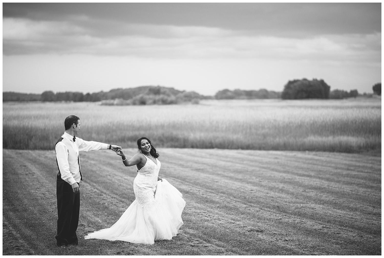 black and white portrait, wisconsin bride and groom, open field, summer wedding, wisconsin wedding photography, wisconsin summer wedding, wisconsin wedding