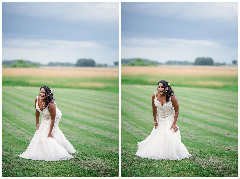 wisconsin bride, open field, summer wedding, white lace strapless wedding dress, diamond necklace, diamond earrings, diamond bracelet, badger farms wedding