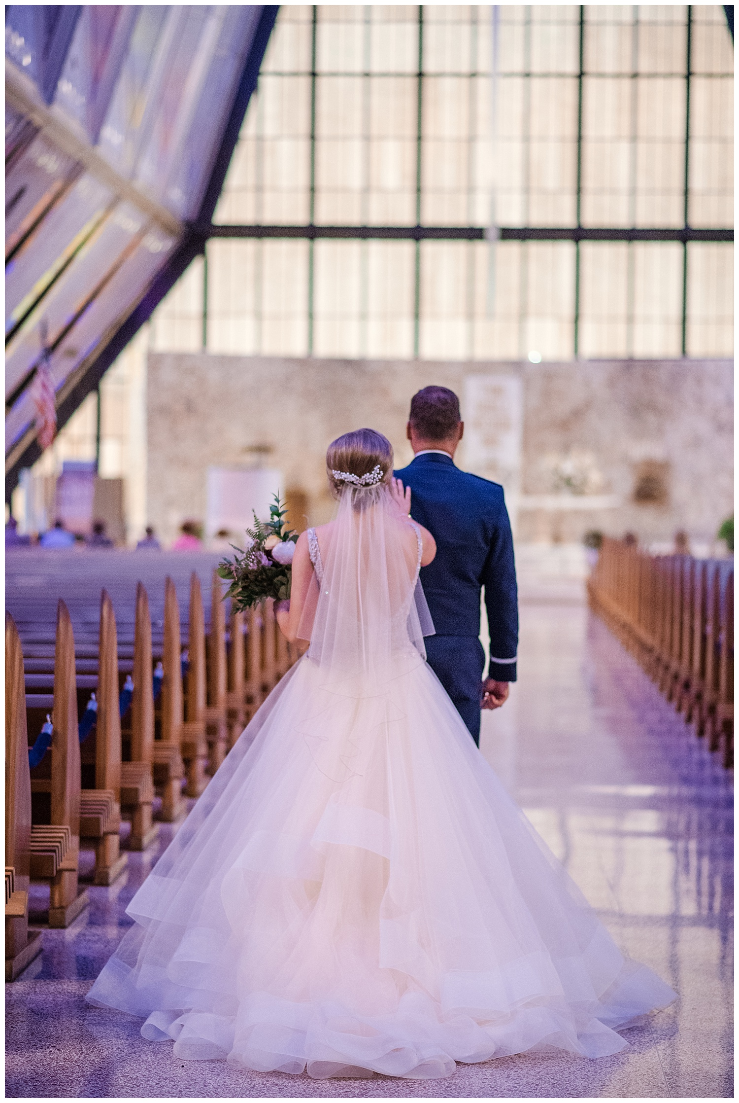 USAFA Chapel Wedding, Cadet Chapel Wedding, Colorado Springs Wedding Ceremony, Empty Chapel before Wedding, Stained Glass Chapel, Bride and her bridesmaids, Colorado Bride, Tulle Wedding Dress, Sparkly Bridesmaids Dresses, First Look, Colorado Wedding Photographer, Denver Wedding Photographer, Denver Elopement Photographer, Colorado Elopement Photographer, Rocky Mountain Wedding Photographer, Downtown Denver Photographer