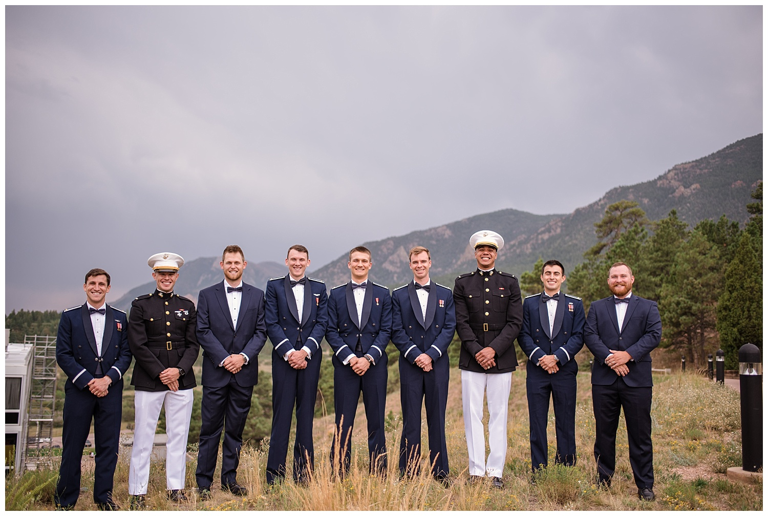 Military Wedding, Military Groomsmen, Navy, Army, Air force, Groomsmen in Dress blues, Dress blues, Colorado Wedding Photographer, Denver Wedding Photographer, Denver Elopement Photographer, Colorado Elopement Photographer, Rocky Mountain Wedding Photographer, Downtown Denver Photographer