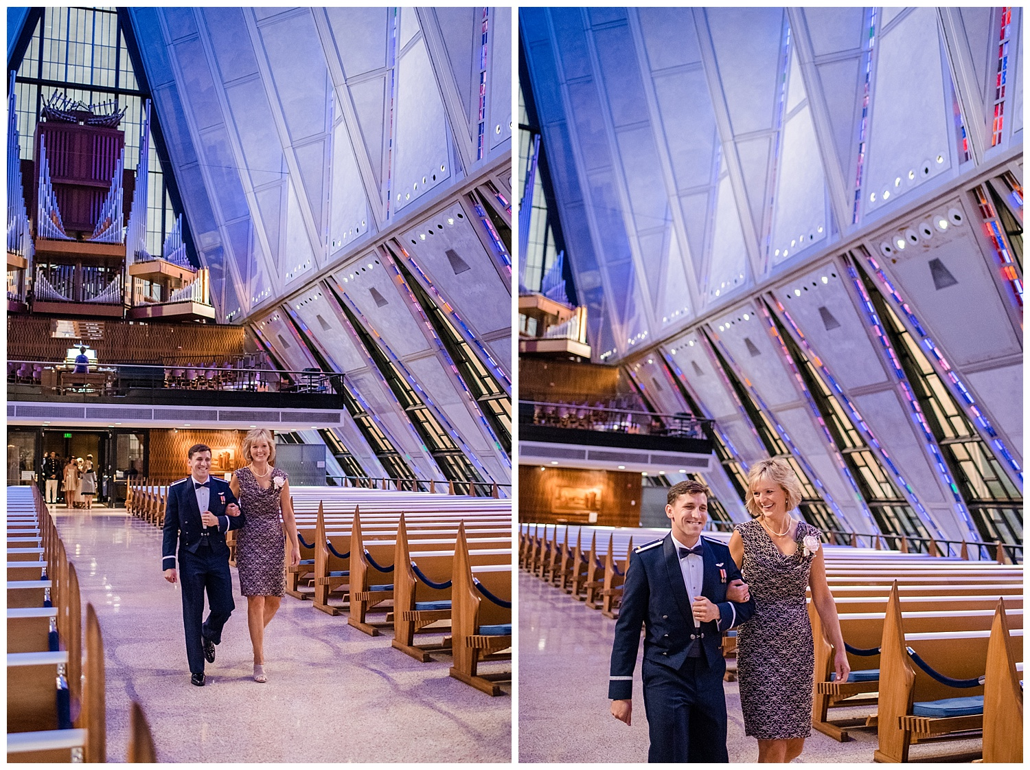 Military Wedding, Cadet Chapel Wedding, Wedding Ceremony walking down the aisle, Mother walking down the aisle, Colorado Wedding Photographer, Denver Wedding Photographer, Denver Elopement Photographer, Colorado Elopement Photographer, Rocky Mountain Wedding Photographer, Downtown Denver Photographer