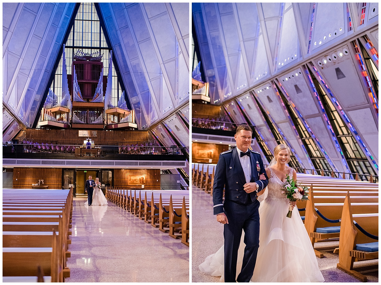 Military Wedding, Cadet Chapel Wedding, Wedding Ceremony walking down the aisle, bride and father walking down the aisleColorado Wedding Photographer, Denver Wedding Photographer, Denver Elopement Photographer, Colorado Elopement Photographer, Rocky Mountain Wedding Photographer, Downtown Denver Photographer