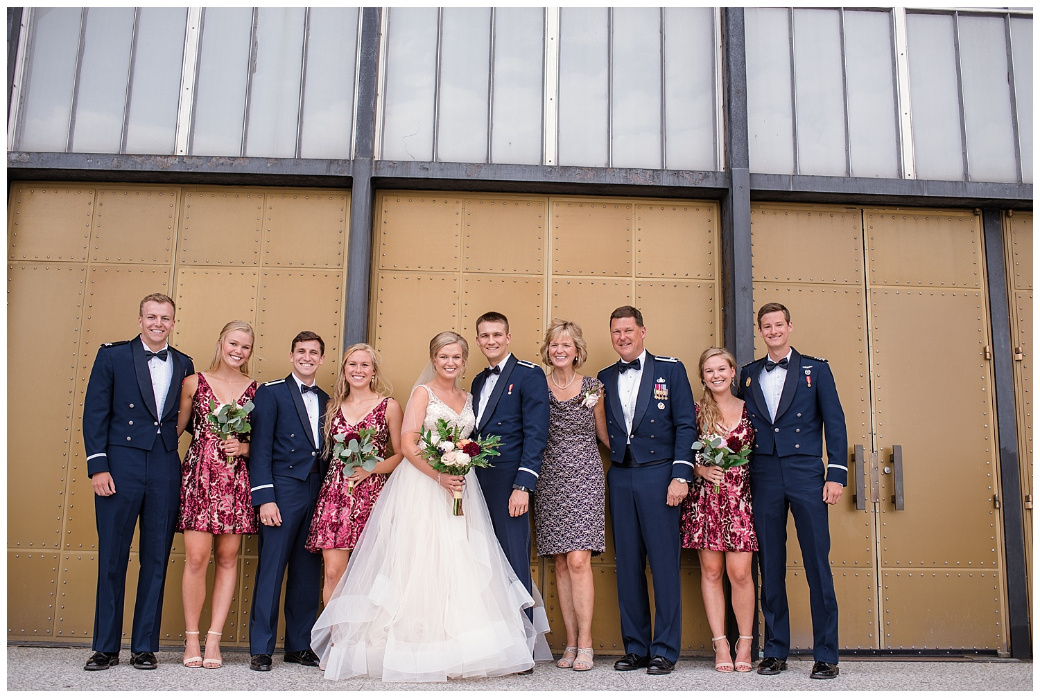 Military Wedding, Cadet Chapel Wedding, bride and groom, navy suits, dress blues, sparkly red bridesmaids dresses, bridal party, family photos, Colorado Wedding Photographer, Denver Wedding Photographer, Denver Elopement Photographer, Colorado Elopement Photographer, Rocky Mountain Wedding Photographer, Downtown Denver Photographer