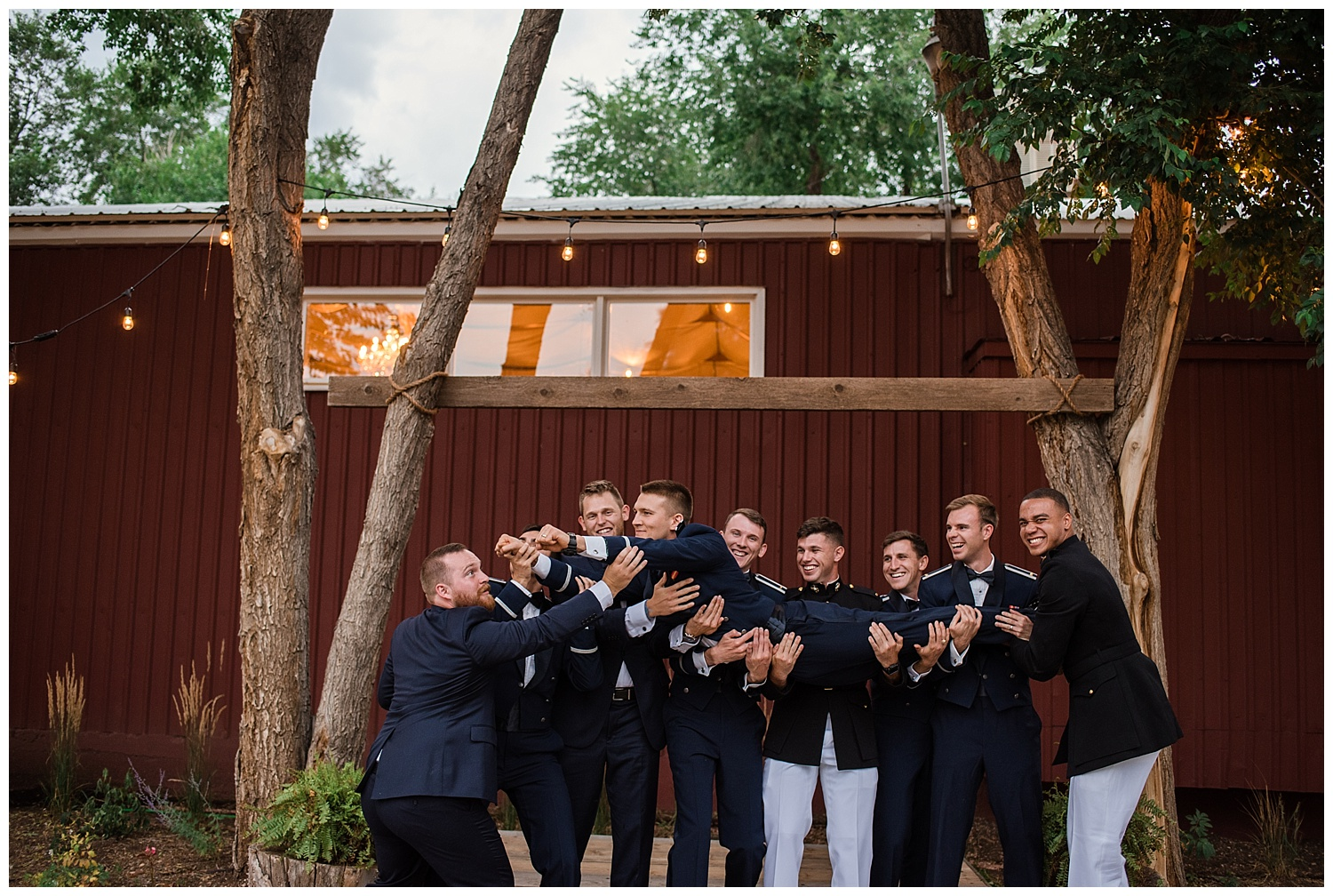 Military Wedding, bridal party, dress blues, groomsmen, bridesmaids, dress blues, groomsmen holding up groom, Colorado Wedding Photographer, Denver Wedding Photographer, Denver Elopement Photographer, Colorado Elopement Photographer, Rocky Mountain Wedding Photographer, Downtown Denver Photographer, colorado springs wedding photographer