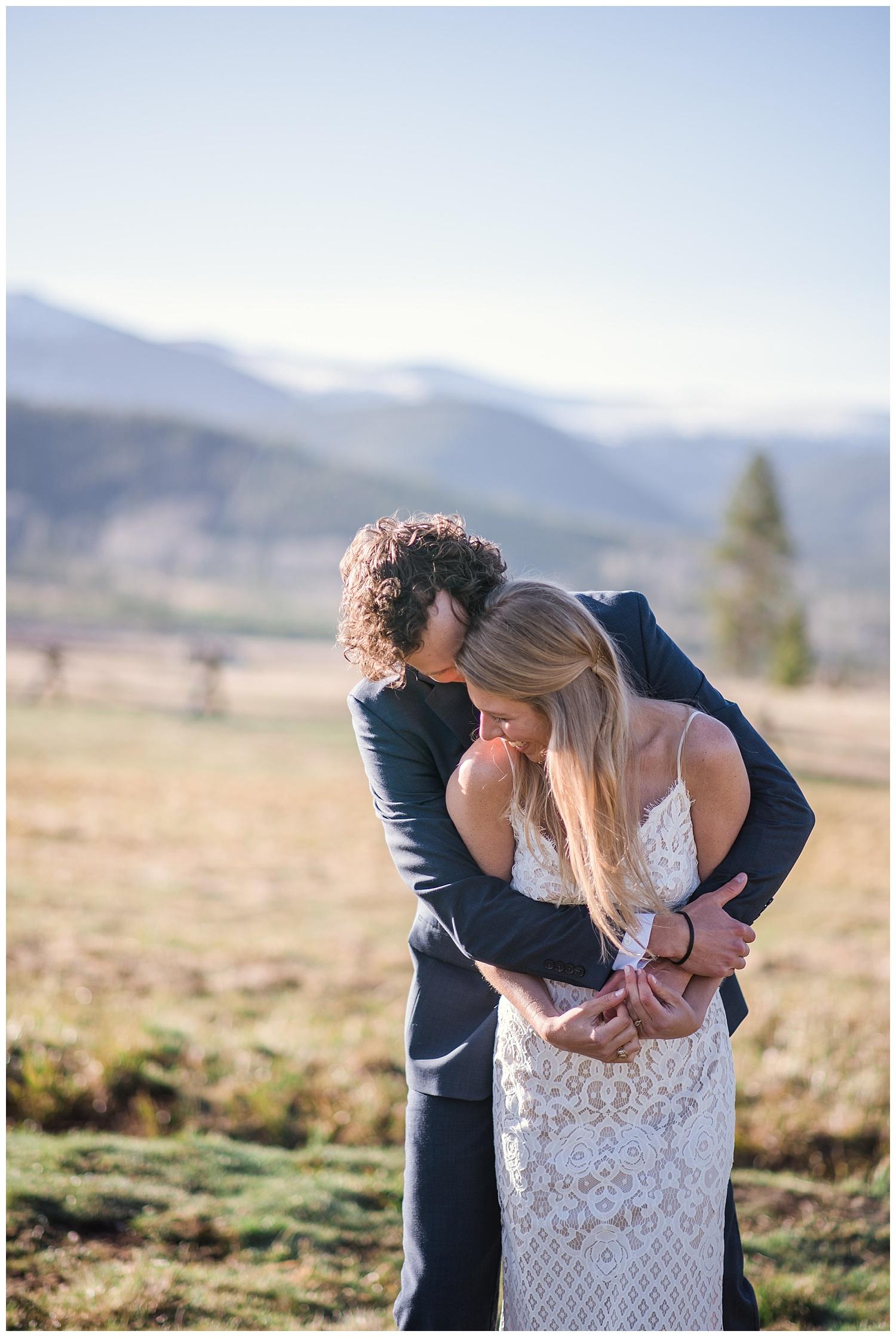 romantic bride and groom portraits in rocky mountain national park, colorado wedding photographer, denver wedding photographer, colorado elopement photographer, denver elopement photographer, rocky mountain photographer