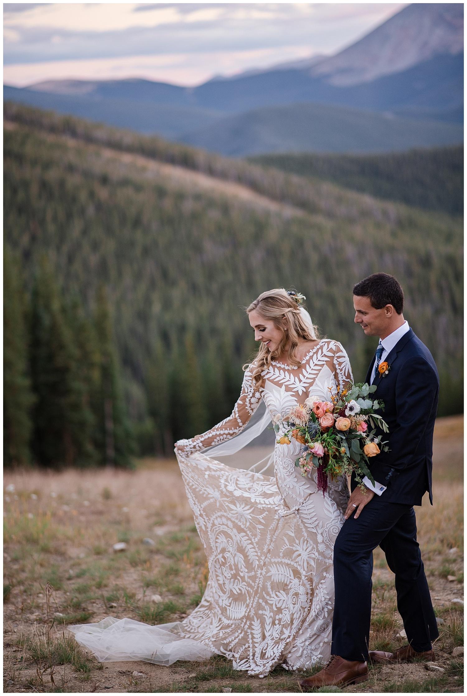 Bride and groom wedding portraits at Keystone, Bohemian Wedding at Keystone Resort, Mountain Wedding in Colorado, Colorado Wedding Photographer, Denver Wedding Photographer, Intimate Colorado Wedding Photographer, Rocky Mountain Wedding Photographer