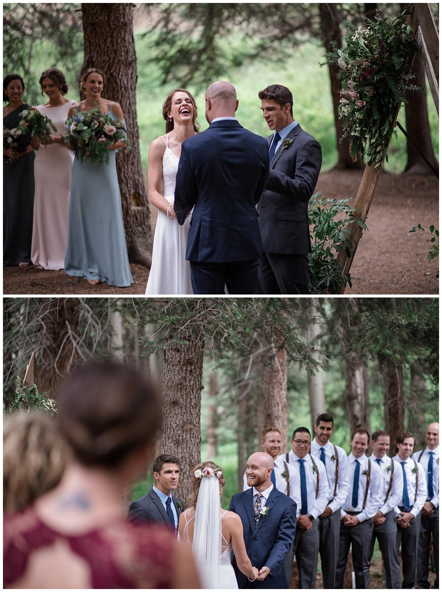wedding ceremony at Beaver Ranch in Conifer Colorado, Colorado Wedding Photographer, Rocky Mountain Wedding Photographer, Intimate Colorado Wedding Photographer