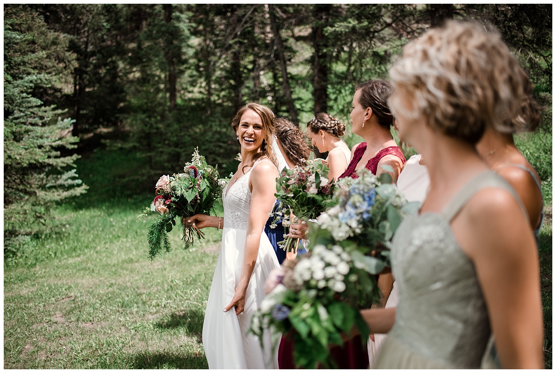 wedding party portraits at Beaver Ranch in Conifer Colorado, Colorado Wedding Photographer, Rocky Mountain Wedding Photographer, Intimate Colorado Wedding Photographer