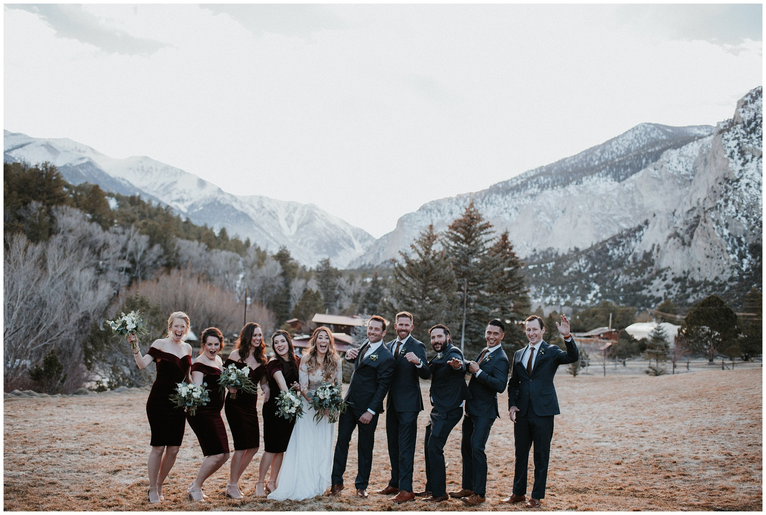 Spring wedding at Mt Princeton Hot Springs, Buena Vista Wedding, Buena Vista Wedding Photographer, Mt Princeton Wedding Photographer, Colorado Wedding Photographer, Denver Wedding Photographer, Denver Colorado Wedding Photographer, Mountain Wedding Photographer, Mountain Photographer, Colorado Engagement Photographer, Denver Engagement Photographer, Romantic Colorado Wedding, Winter Colorado Wedding, Small Colorado Wedding Photographer, Intimate Colorado Wedding Photographer, Colorado Wedding Videographer, Denver Wedding Videographer, Videographer Denver, illusion wedding dress, scarlet bridesmaids dresses, navy wedding suit