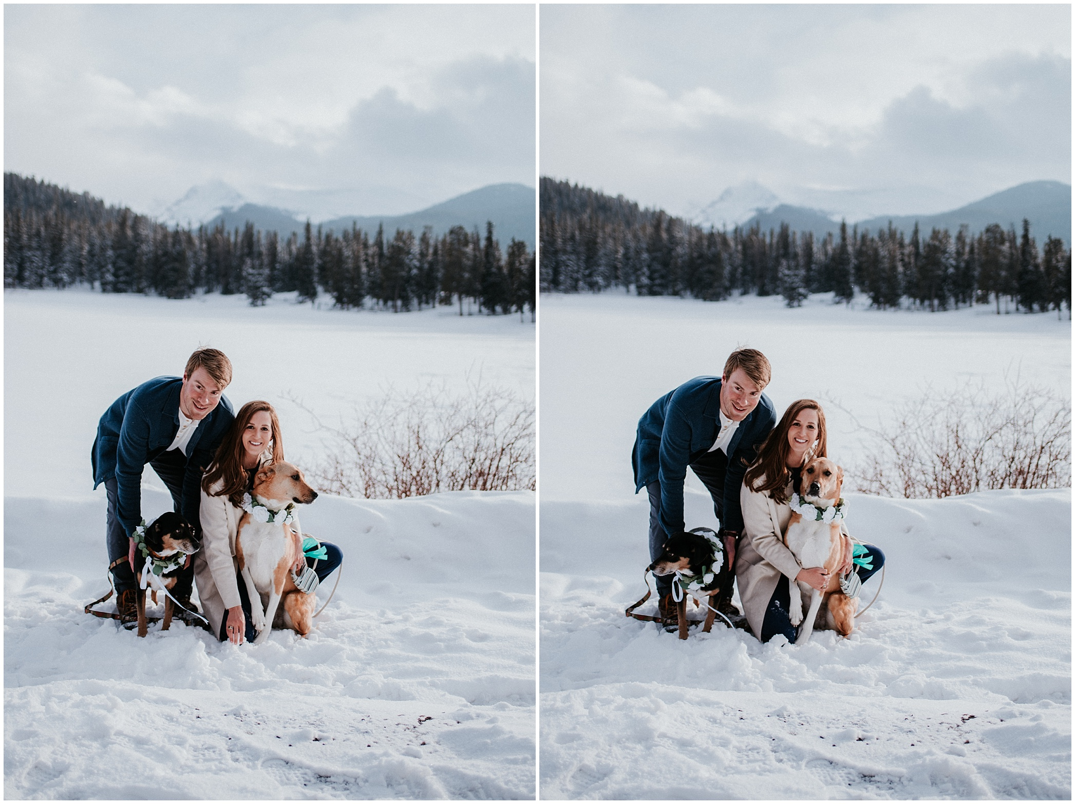 Echo Lake Engagement Session, Denver Engagement, Colorado Engagement Photos, Denver Engagement Photos, Colorado Engagement Photographer, Denver Engagement Photographer, Colorado Videographer, Denver Videographer, Mountain Engagement Photos, Engagement photo outfit ideas, Forest Engagement session, brunette bride, winter engagement, winter wedding, small wedding, forest photos denver, mountain view engagement colorado, romantic engagement session, engagement poses, dog engagement photos, Echo Lake,