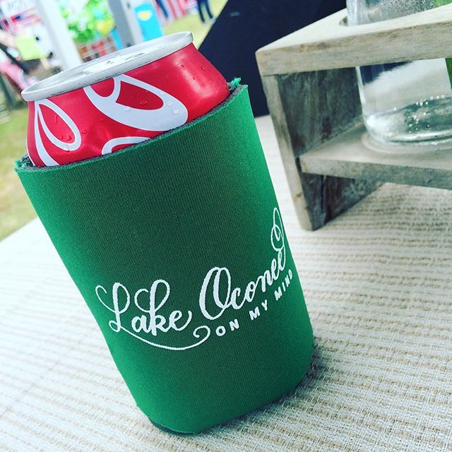 """Lake Oconee on My Mind"" Coozies (Copyright Claire Sanders Calligraphy 2016)"