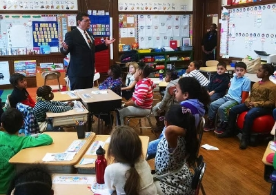 Ciommo speaks to Winship Elementary School students about the importance of public service.