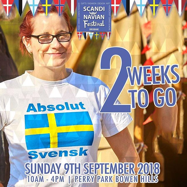 ONLY 2 WEEKS TO GO! Come on down to Perry Park on the 9th of September at 10am for a great day! Adults are $2 and children enter free! . . . . . . . . . . #scandinavian #festival #scandinavianfestival #brisbane #queensland #stalls #denmark #norway #sweden #finland #iceland #scandifest #food #drinks #scandinavianfestivalbrisbane #fun #familyfriendly