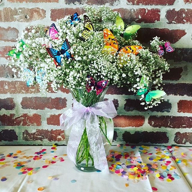 Flowers for a very special lady. My sweet grandmother's 90th birthday. She requested butterflies 😊#howistherenotabutterflyemoji #bayareaflorist #babiesbreath #butterfly #90thbirthday