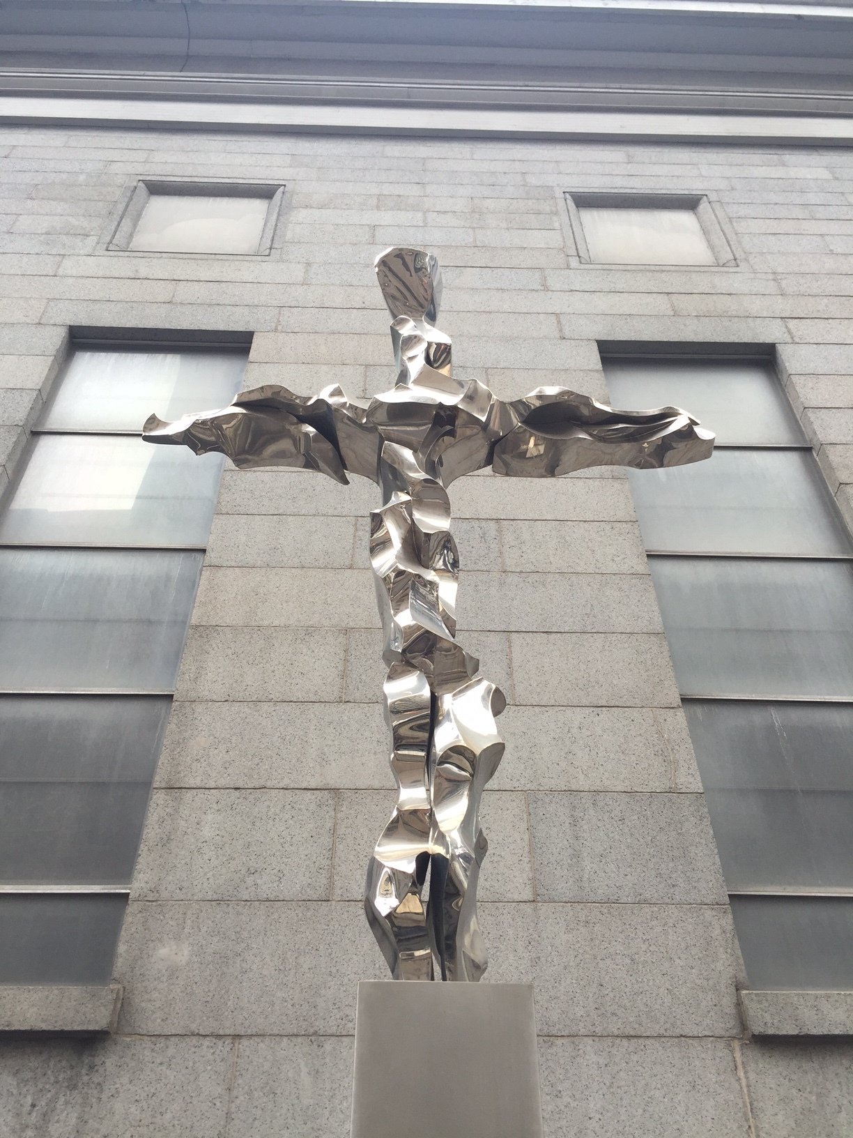 Cross made from twisted metal from the Twin Towers.