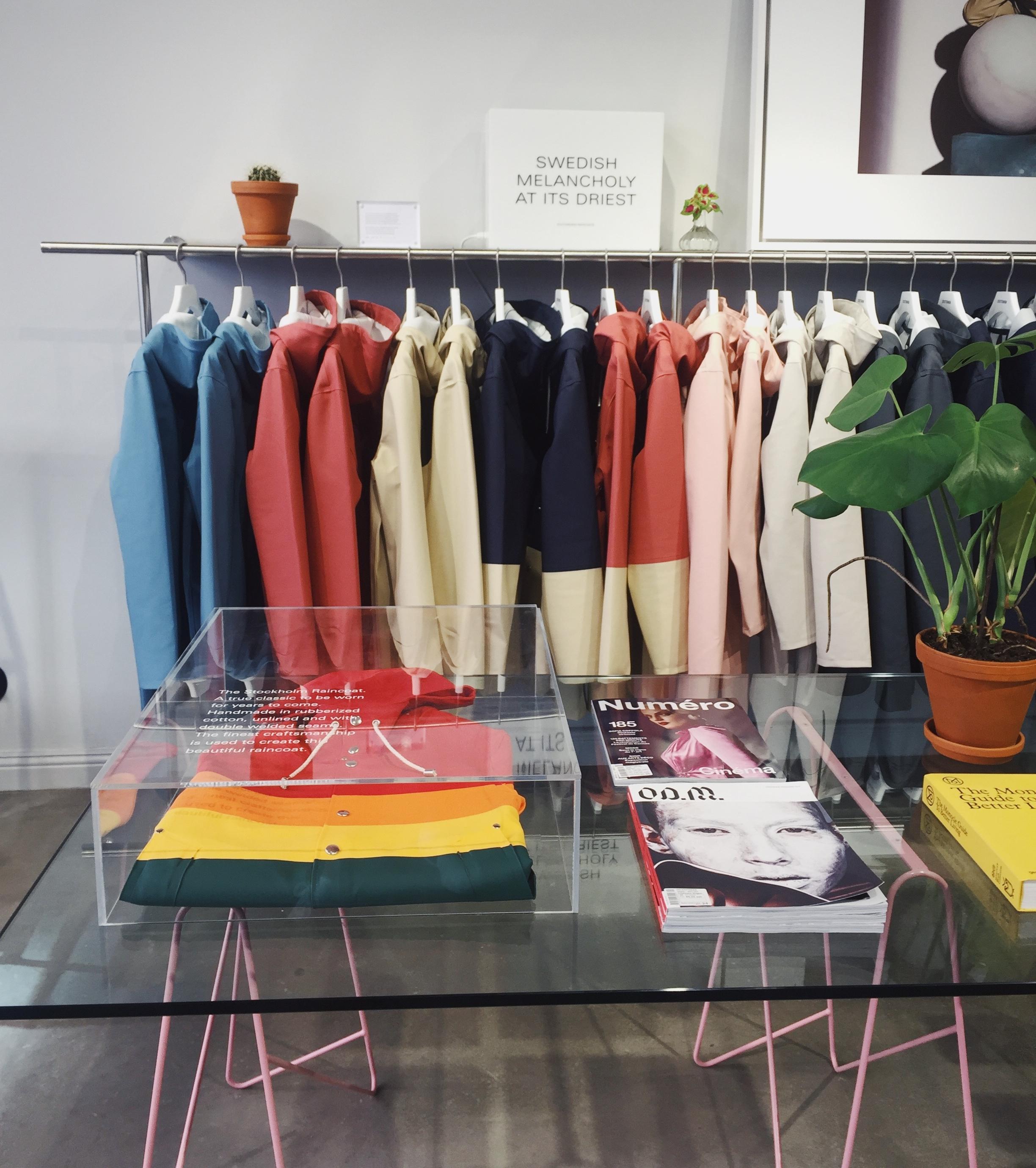Stutterheim, a very Swedish rain jacket shop.
