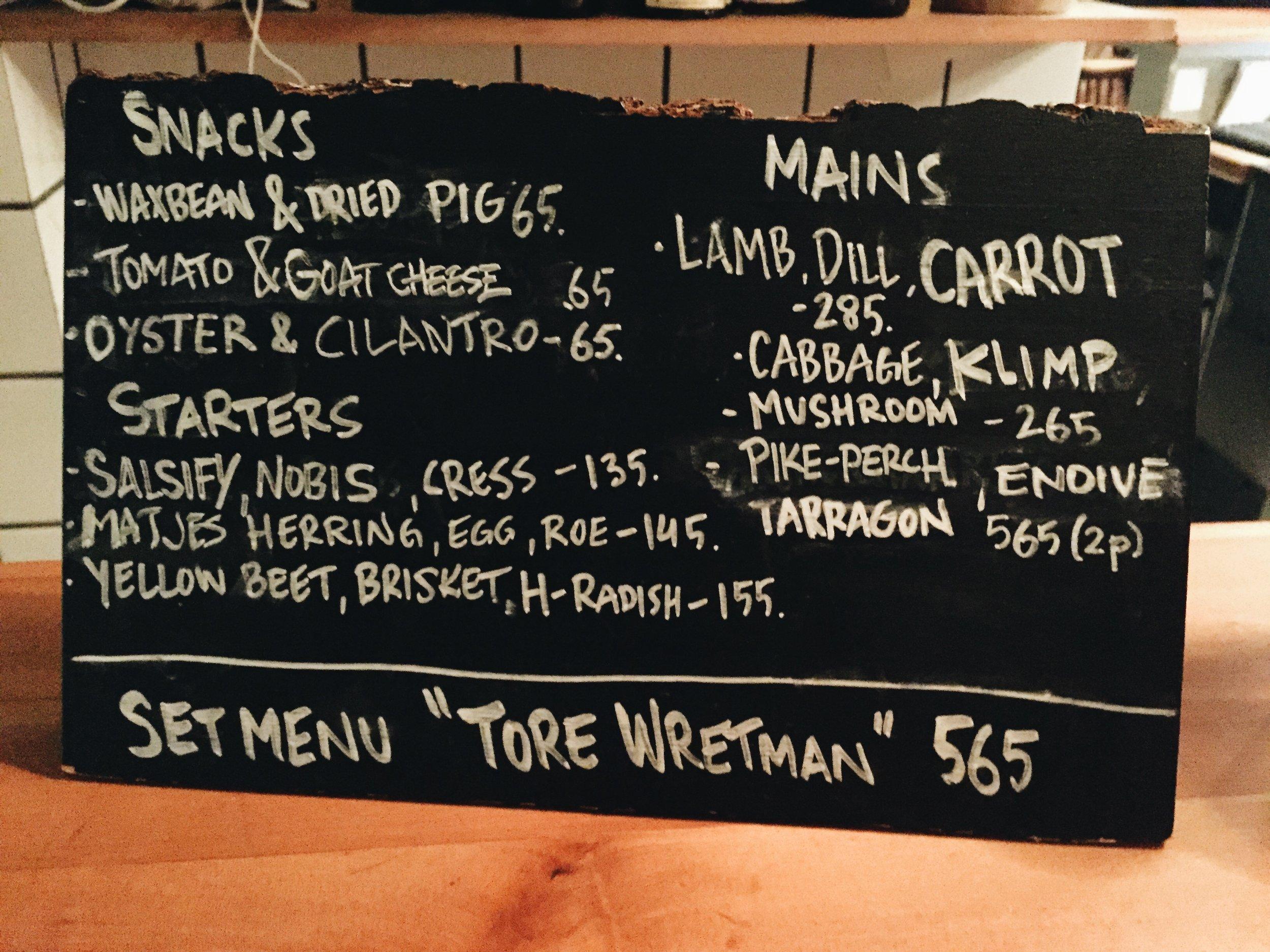 Woodstockholm menu.