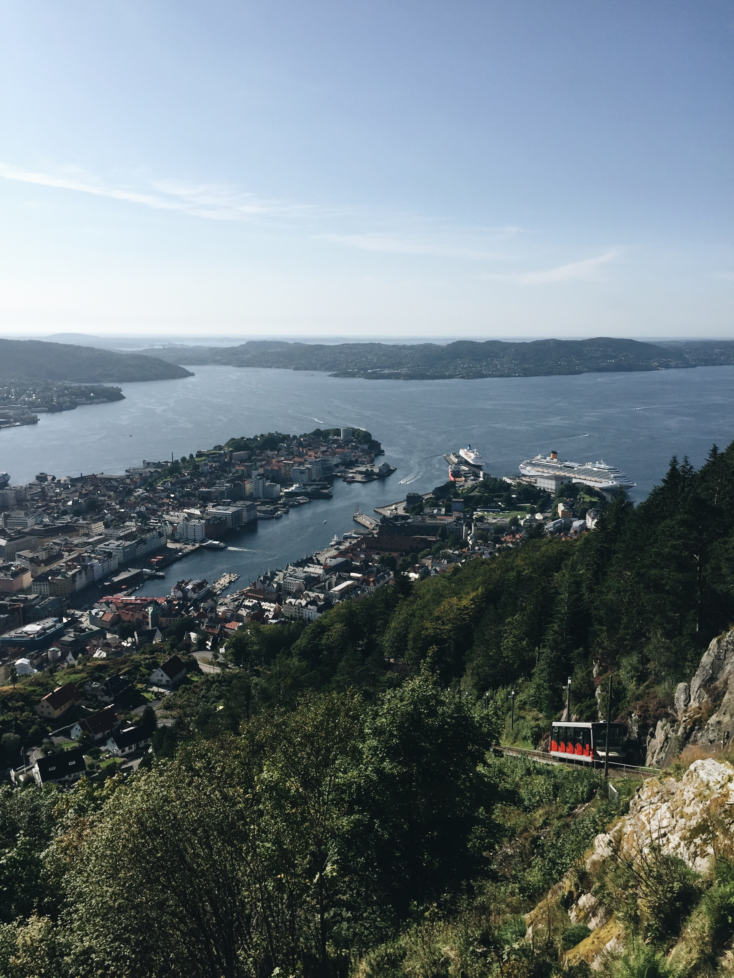 The harbor as seen from the top of Fløibanen.
