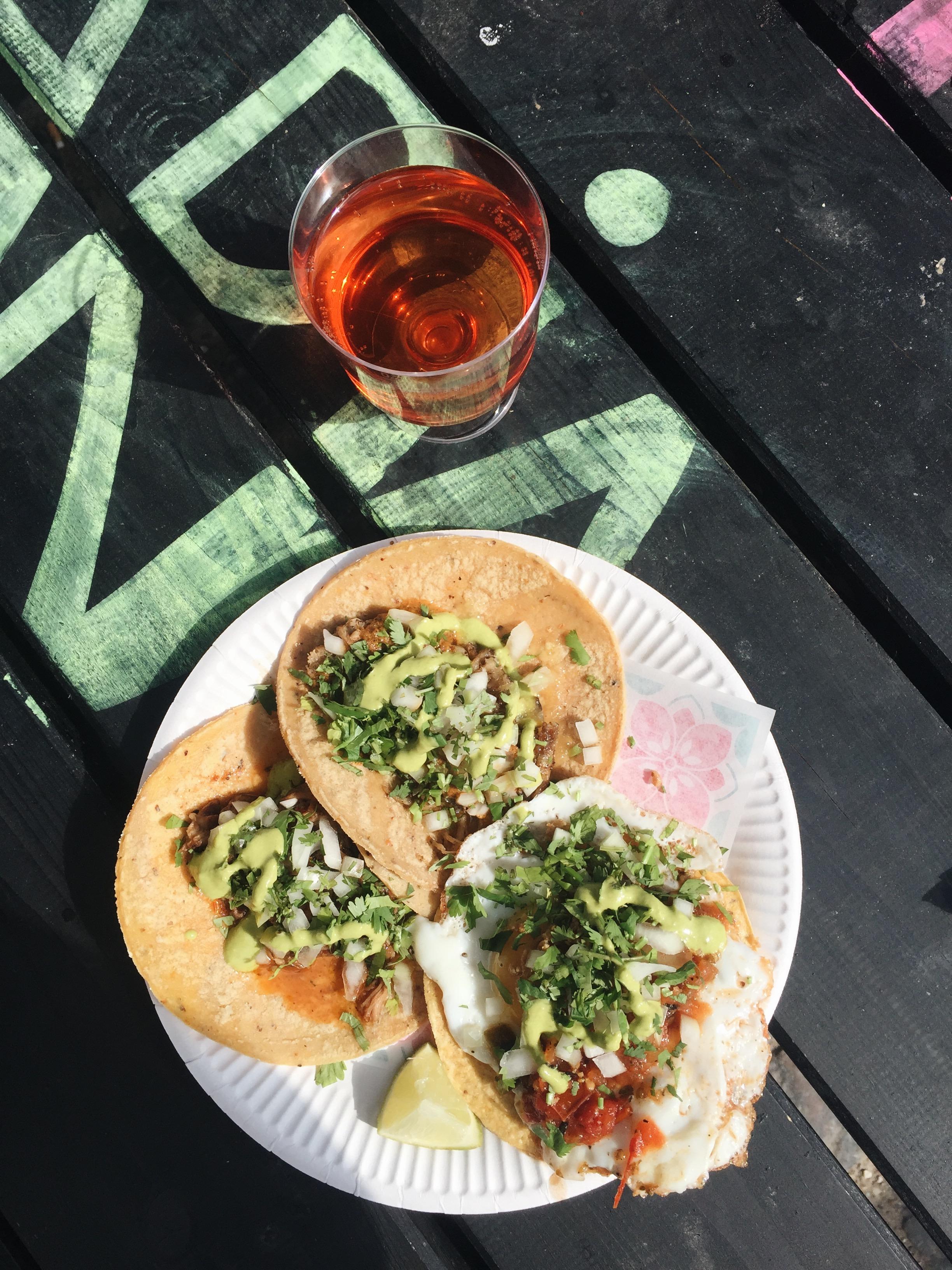 Tacos and rosé at Hija de Sanchez.