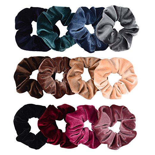 Velvet scrunchies from Amazon, $9.99