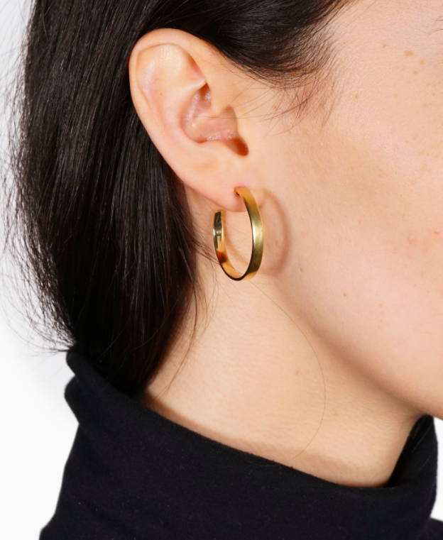 Mejuri boyfriend hoops . Full disclosure - I already bought these. I'm excited to try this new brand that offers cool, structured jewelery for a reasonable price.