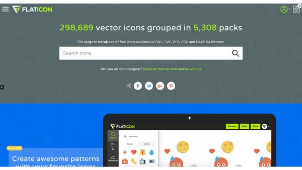 Flaticon   滿足任何 icon 需求,可以依照圖標屬性如:類扁平及扁平,進行收尋
