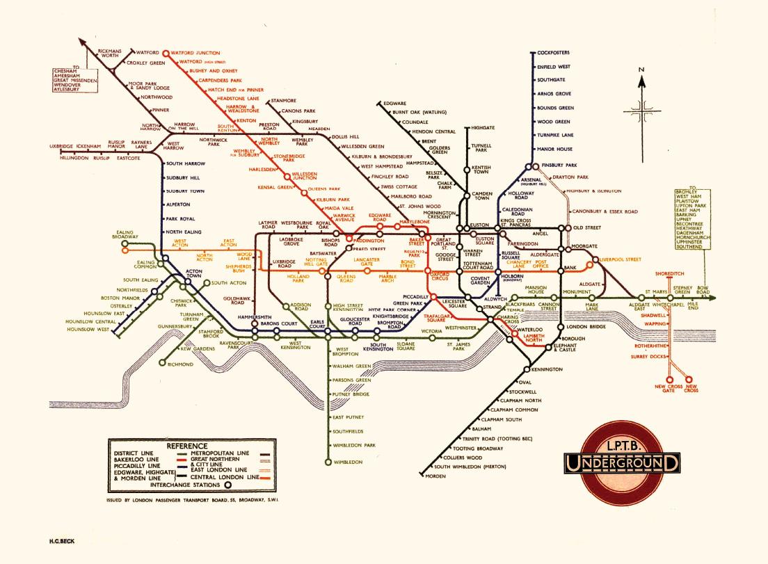 貝克於1933年設計的倫敦地鐵圖,奠定了現代交通路線的表現形式。