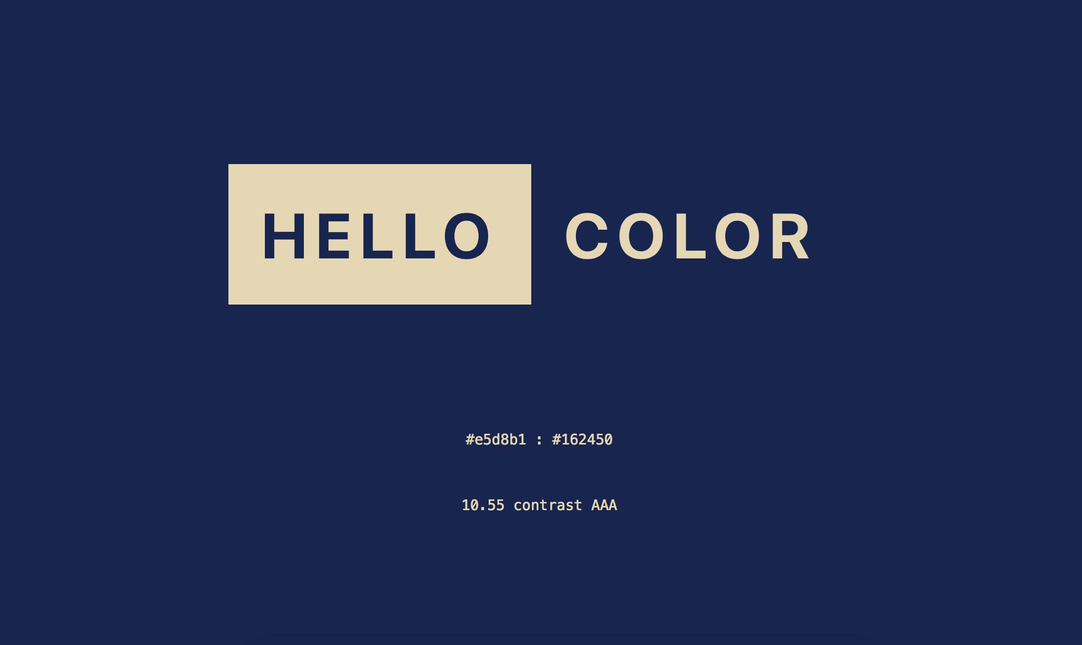HELLO COLOR   點擊畫面,它會隨機提供兩種顏色組合,同時提供給你相近、互補的顏色