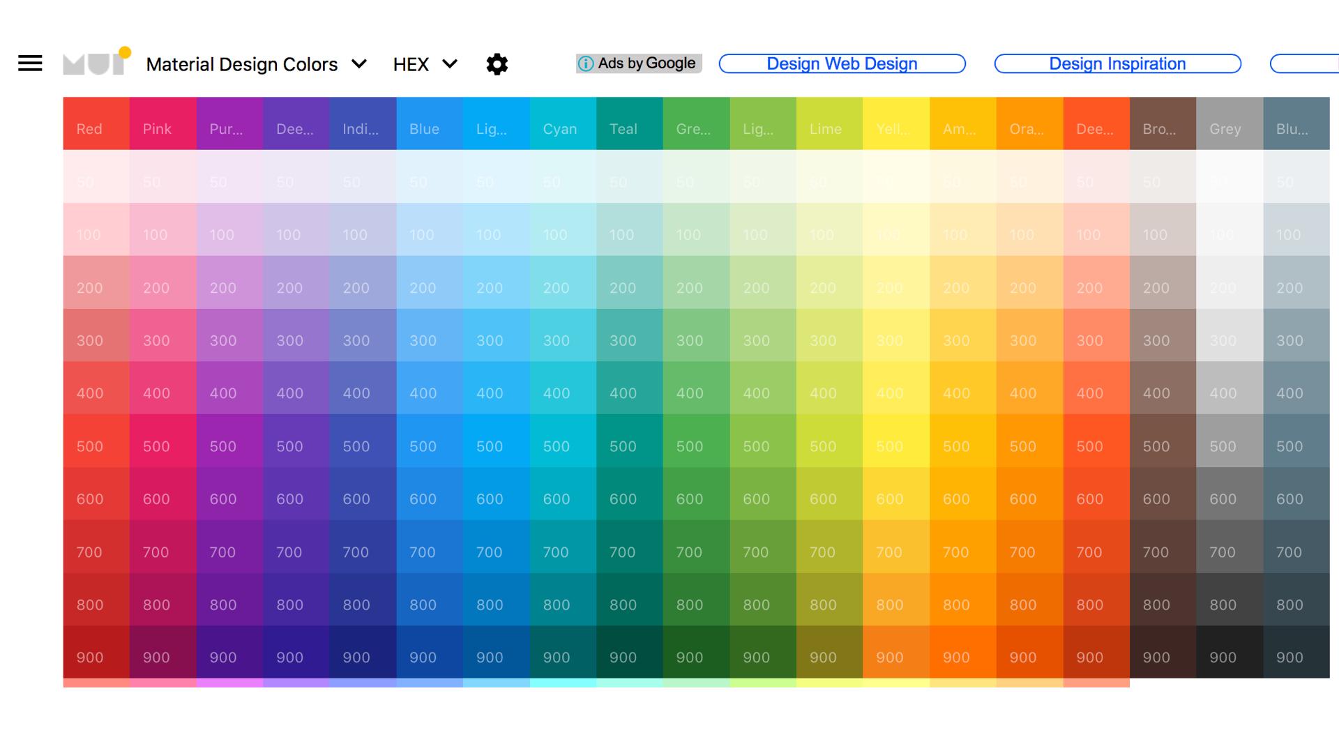 Material UI Colors   直接告訴你對比、互補的配色方案,快速又方便