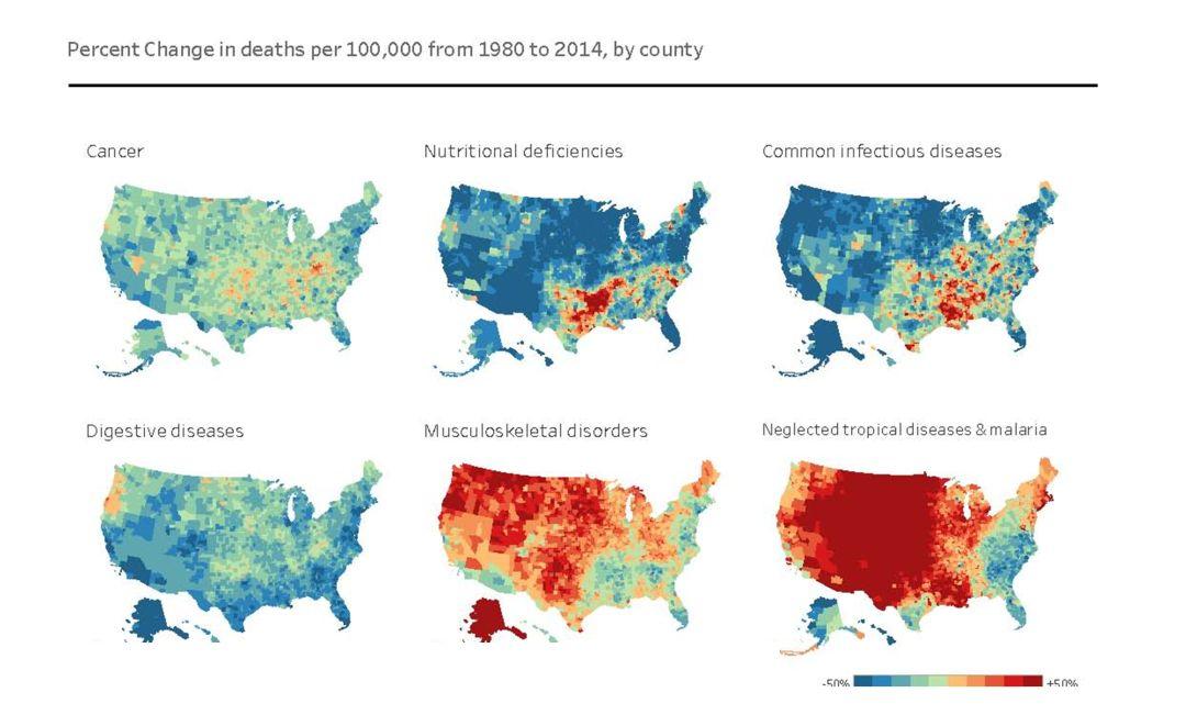 / 熱力圖:美國每10萬人死亡人數變化百分比(1980-2014) /