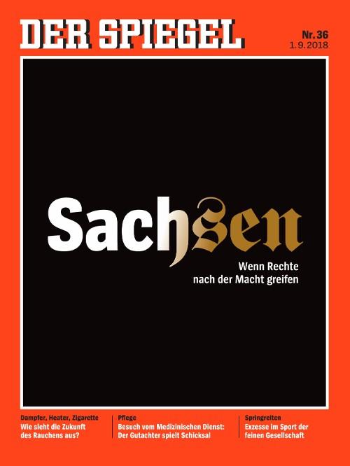 第36期的德國明鏡週刊,直接以Sachsen為標語,並用兩種字型排列。圖片來源: 明鏡週刊